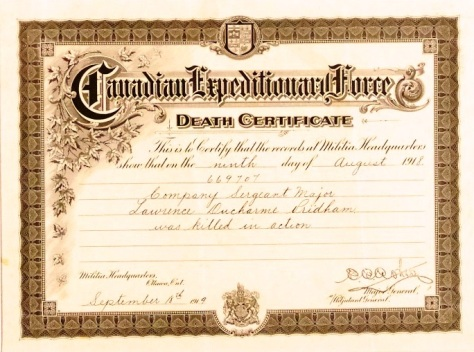 Death Certificate for CSM Lawrence D. Pridham, 166th Bn, CEF