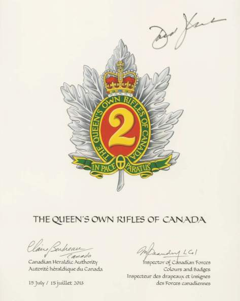 QOR of C Primary Badge Heraldic Painting Approved 15 July 2013