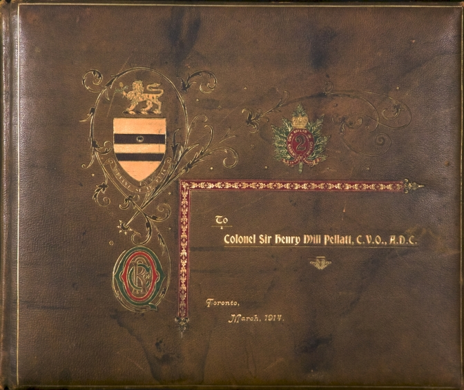 Front Cover of the 1914 leather-bound photograph album presented to then Colonel Sir Henry M. Pellatt,