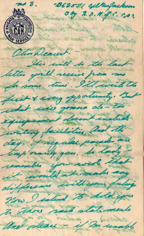Last letter from Rolph Jackson to Olive Lipski before D-Day