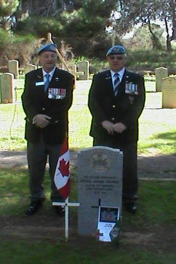 Former Queens Own Ed Widenmaier and Kevin Hollahan visit  Grave of Rifleman P.J. Hoare in Cyprus March 2014