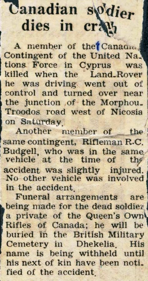 Newspaper clipping re death of Rfn Perry Hoare in Cyprus, 13 August 1965
