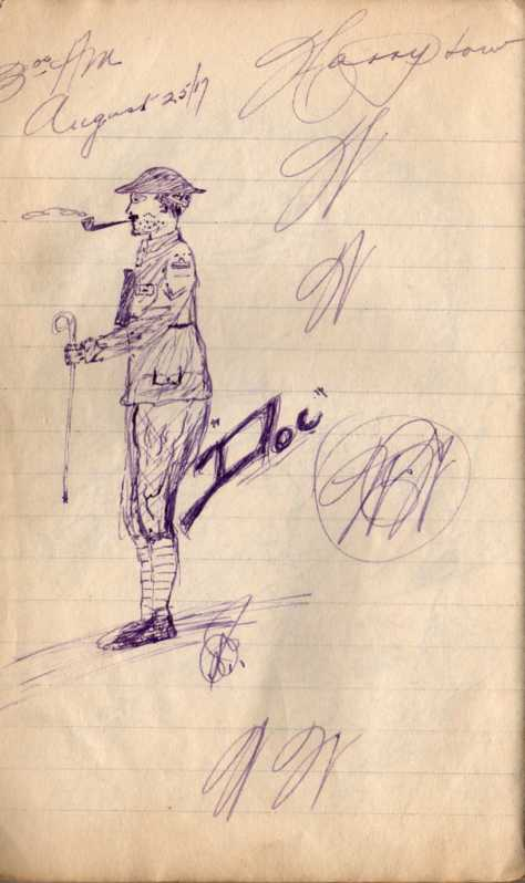 "Pridham sketch of ""Doc"" from his diaries Vol #4"