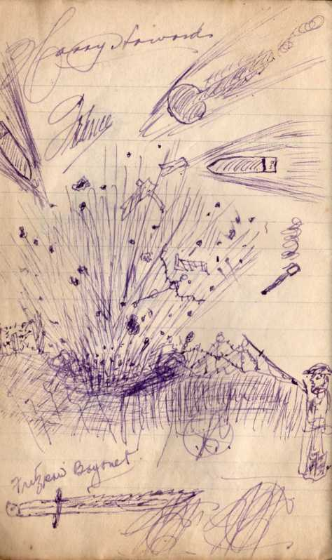 Shell exploding sketch from Pridha's diary Vol #4