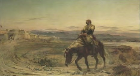 'Remnants of an Army' by Elizabeth Butler portraying Dr. William Brydon arriving at the gates of Jalalabad as the only survivor of a 16,500 strong evacuation from Kabul in January 1842