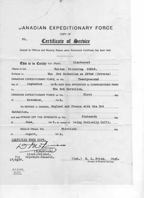 Service Record for Lt Felton P. Behan, MM