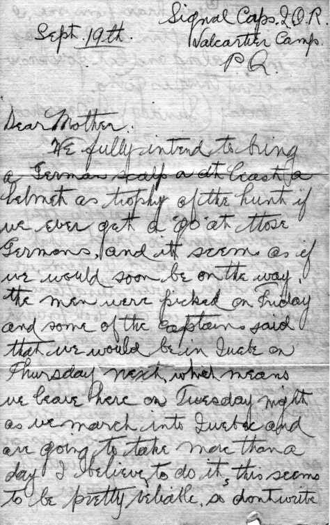 14 September 1914 letter from Private Felton P. Behan to his mother from Camp Valcartier.
