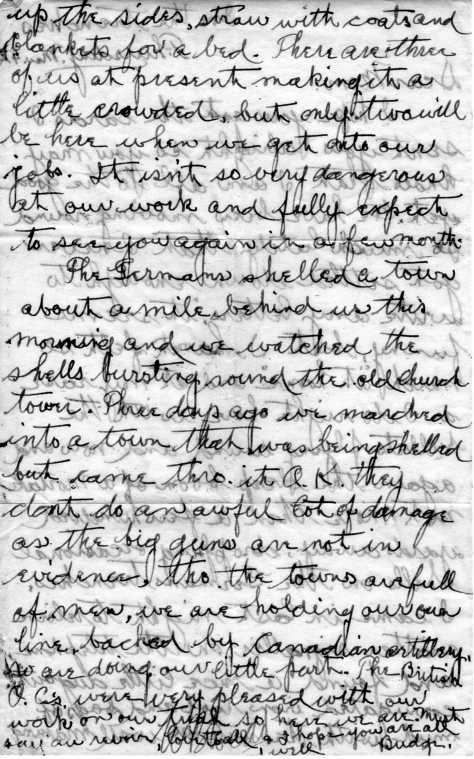Second page of a 4 Mar 15 letter from Lt Felton Pickering Behan from the trenches