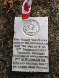 Private Stanley Frederick Johnson's grave marker.