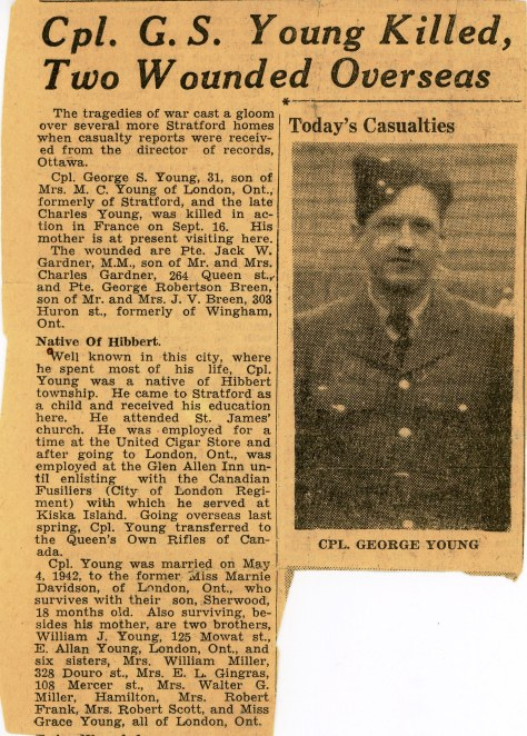 News clipping about Rifleman George Sherwood Young