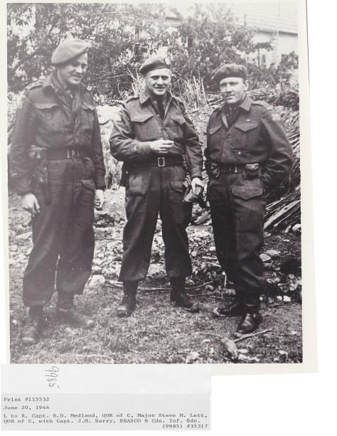 Capt R.D. Medland, Maj M. Lett, Capt J.M. Barry (BRASCO) June 20,1944