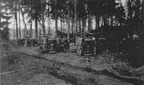 Working on jeeps in the woods 11 Sept 1944 La Capell France