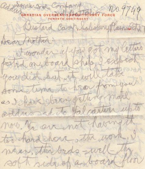 Lt Felton Behan, MM letter dated 14 October 1914 page 1