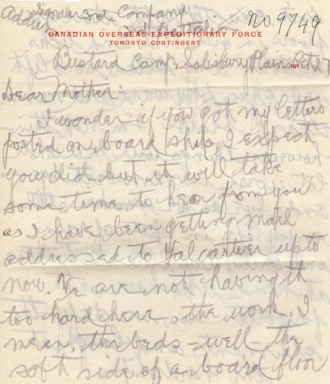 Lt Felton Behan, MM letter dated 14 October 1914 page 1