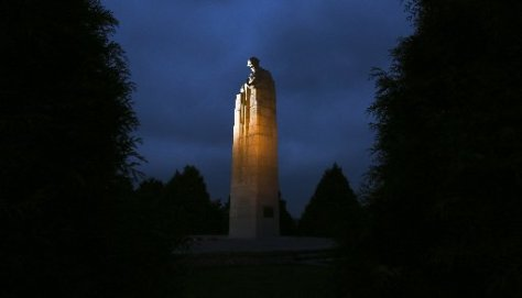 The Canadian 'Brooding Soldier' memorial was unveiled in 1923 to commemorate the Second Battle of Ypres.