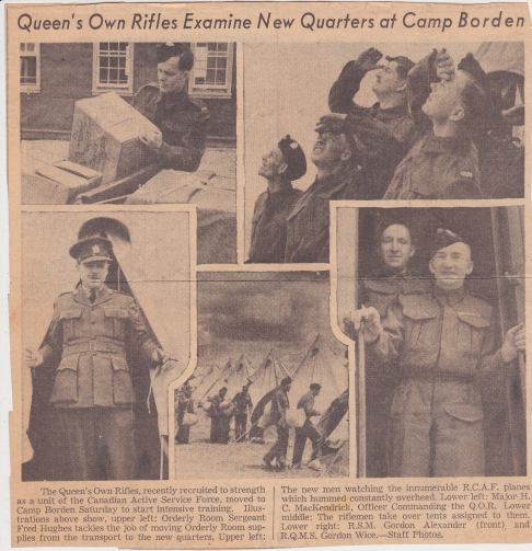 Newspaper Article of the QORofC at Camp Borden - QOR Museum Photo