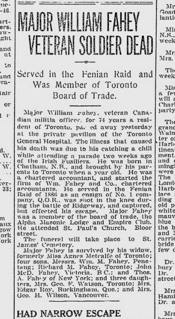 Obituary of Major William Fahey