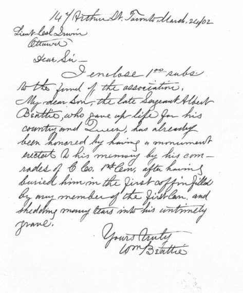 Letter written by Albert's father William Beattie with a subscription for a memorial for the South African War dead.