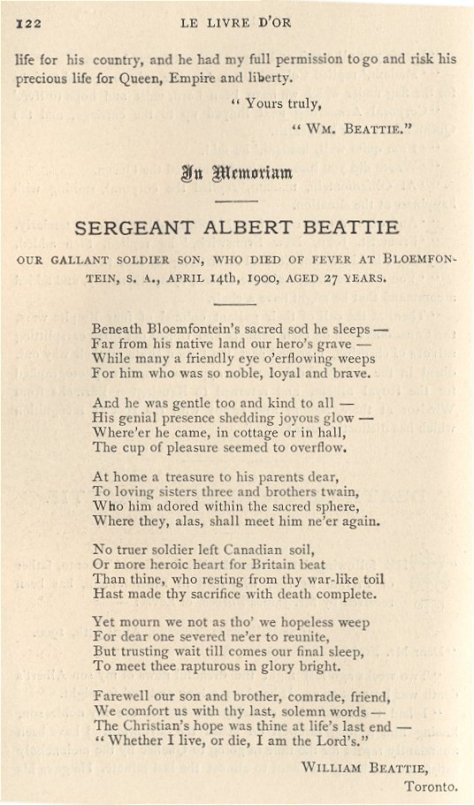 Poem written by Albert Beattie's father William.