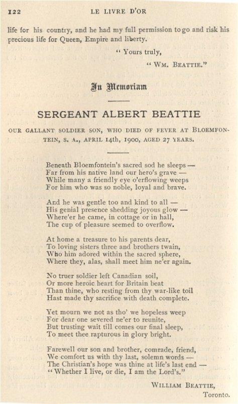 Poem written by Albert Beattie's father William.