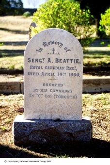 Sergeant Albert Beattie's grave marker in South Africa.