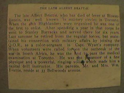 Beattie, Albert - Newpaper clipping