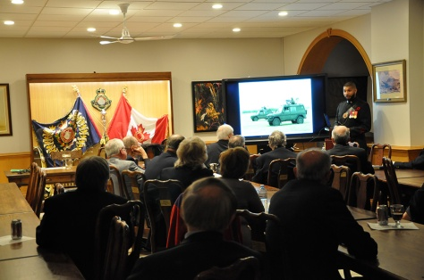 Sergeant Stephen Thomas, MB, CD presenting to the Niagara Military Institute.