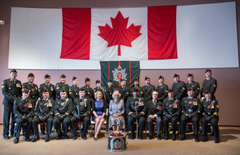 Soldiers and D-Day veteran Jack Hadley at Juno Beach Centre with the Colonel in Chief HRH the Duchess of Cornwall on 5 June 2014
