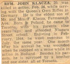 Rfn Klacza obituary