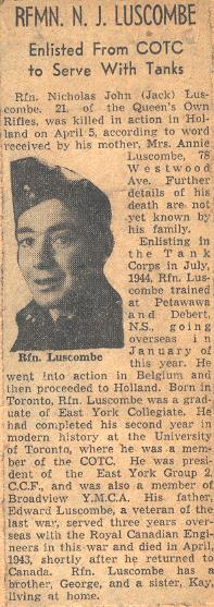 Rfn Luscombe obituary and photo