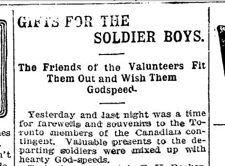 Boer War clipping re gifts