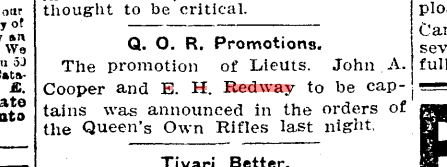 25 october 1906 Newspaper Announcement of Edgar Redway's promotion to Captain.
