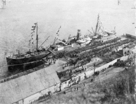 Canadian troops board SS Sardinian in Quebec photo credit: Library and Archives Canada
