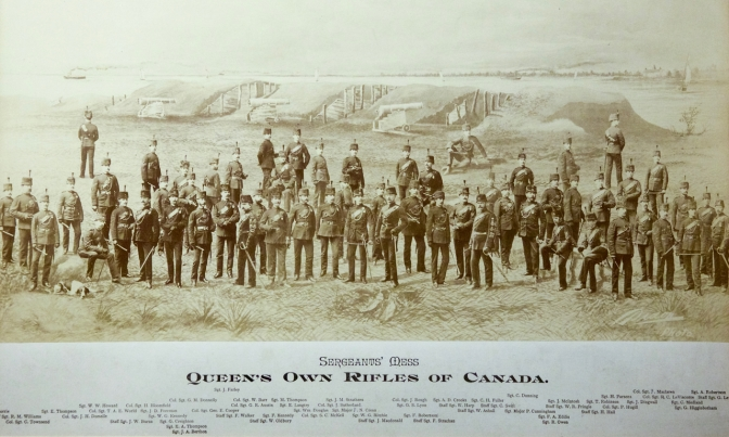 Composite photograph of members of the Sergeants' Mess circa 1886