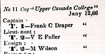 Creation of Upper Canada College Company of the Queen's Own Rifles of Canada (Gazette)