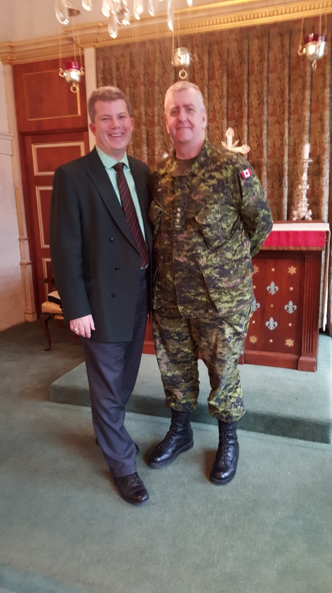 Former QOR Honorary Lieutenant Colonel and UCC Old Boy Brendan Caldwell with QOR Chaplain Captain John Niles after the UCC chapel service on 3 February 2016.
