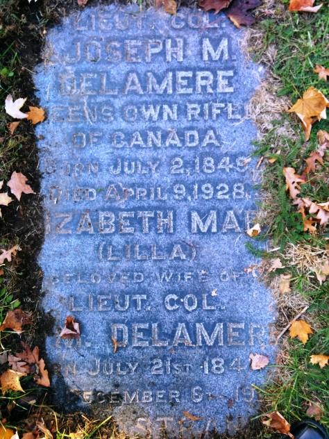 Grave marker for Lieutenant Colonel Joseph M. Delamere