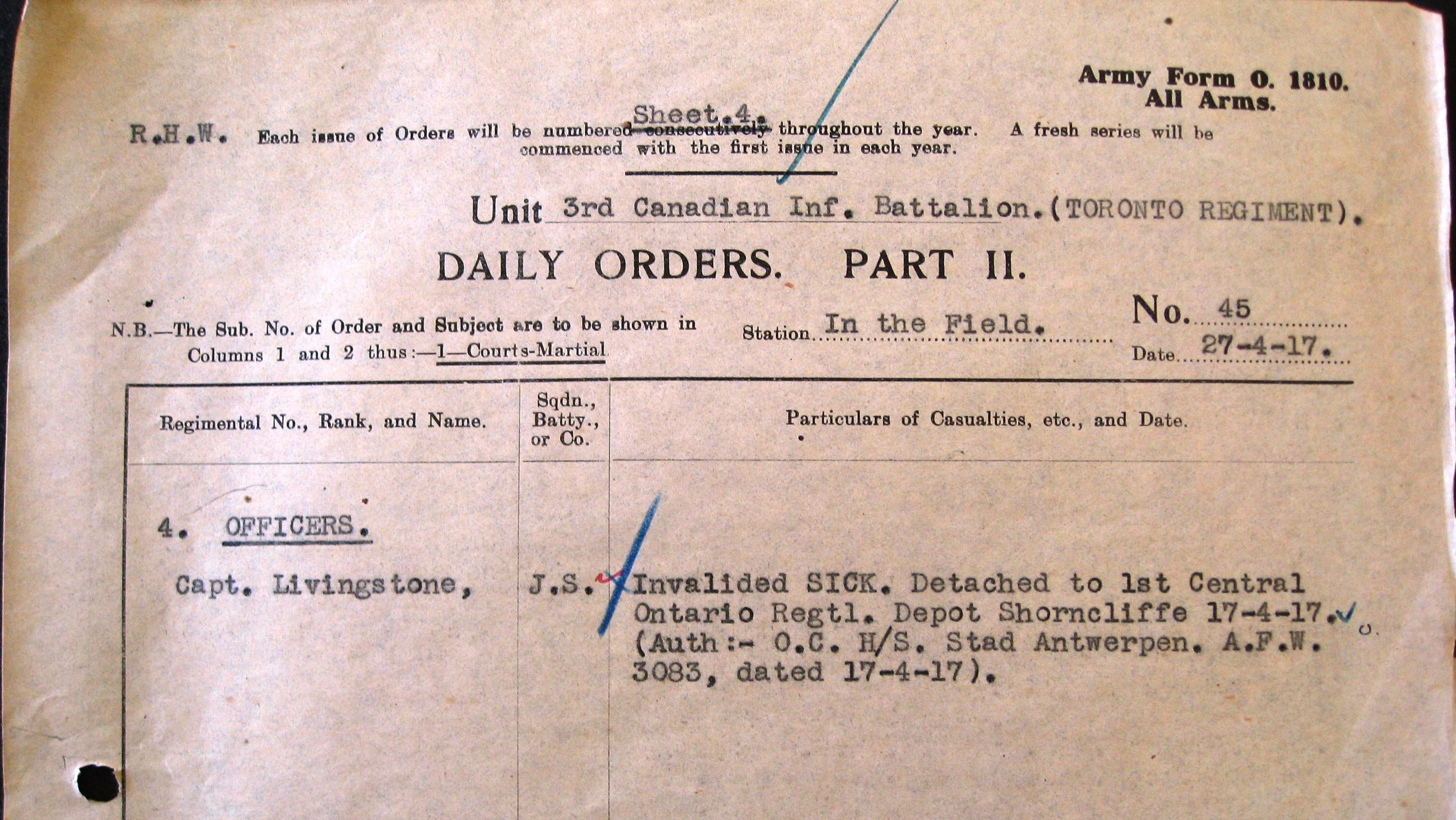 3rd Bn War Diaries 1917 The Queens Own Rifles Of Canada Dean Pickup Wiring Diagram Part Ii Orders No 45