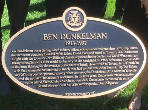 Dunkelman, Ben Heritage Toronto Plaque
