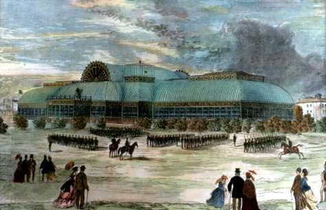 Crystal Palace in 1871 with what is likely companies of the Queen's Own drilling was located north west of King and Shaw streets was in use from 1858-1878
