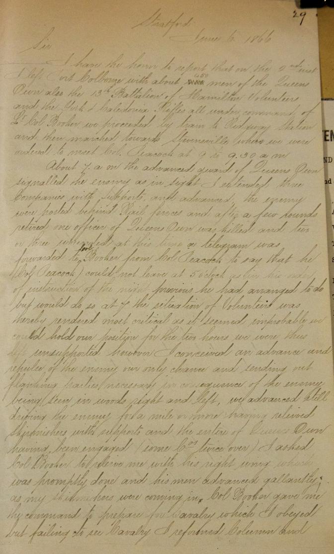 Artifact Spotlight: Major Gillmor's Report on the Battle of Ridgeway